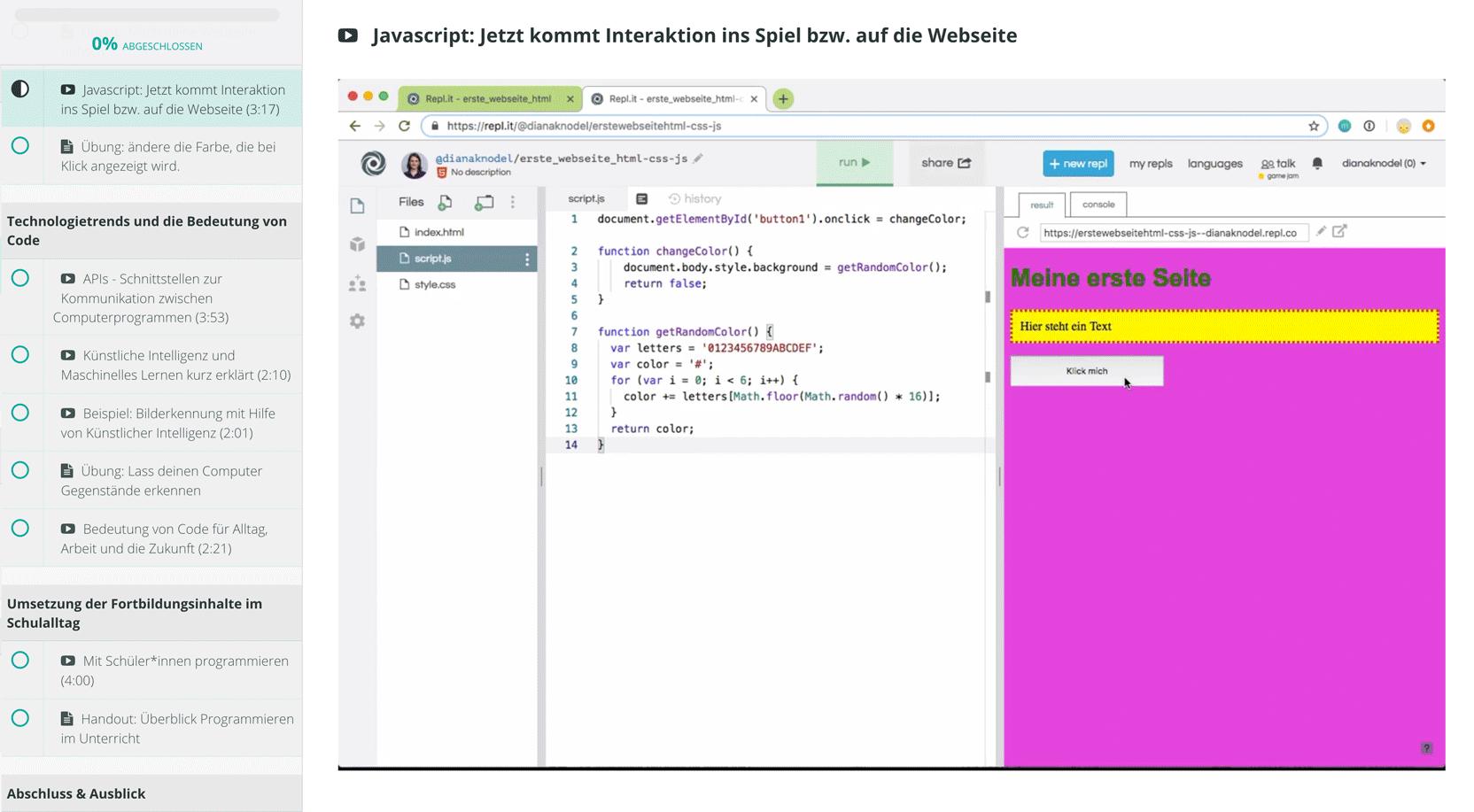 Informatik im Alltag: Übung mit Javascript