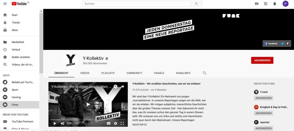 Screenshot der Startseite des Youtube Kanals Y Kollektiv