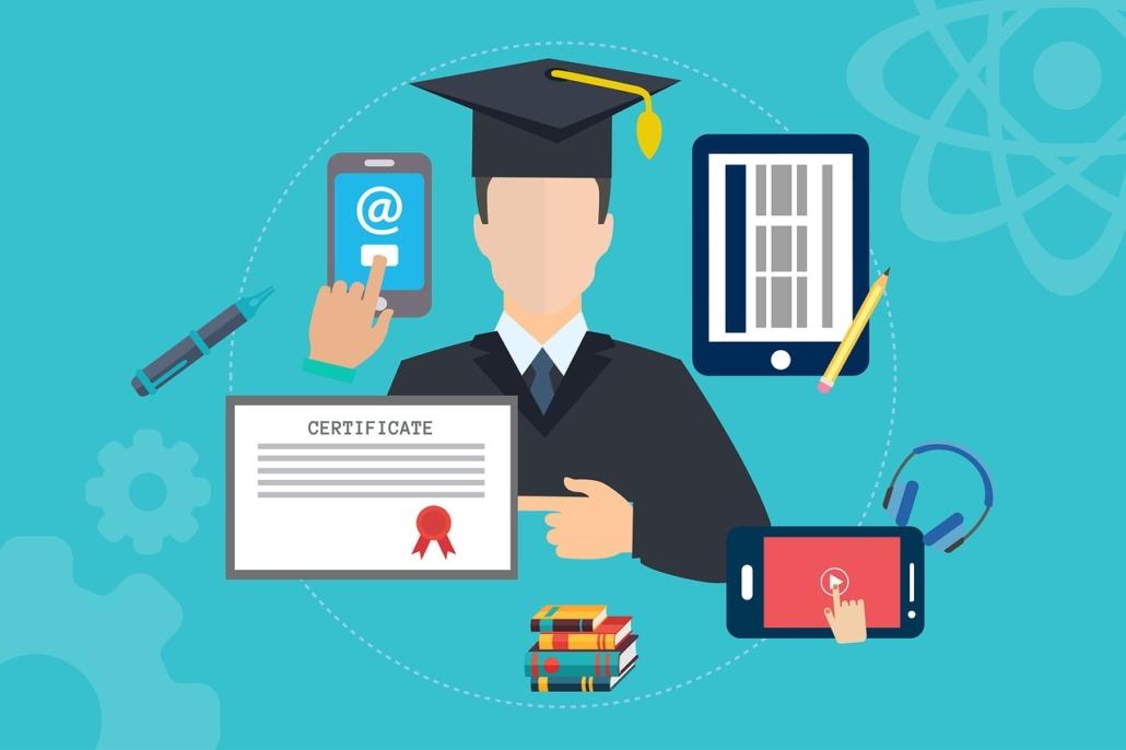 Illustration einer Person die verschiedene Formen den Online-Lernens nutzt.