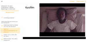 Mögliche Formate - Beispiel Kurzfilm, man sieht einen Ausschnitt eines Films mit einem jungen Mann, der auf dem Bett liegt