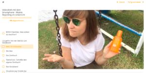 Erklärvideo zum Thema Lichtschutzfaktor: Man sieht eine junge Frau mit Sonnenbrille auf einer Schaukel, fragend betrachtet sie ein Sonnenspray