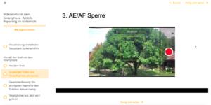 Tipps rund um den Dreh mit dem Smartphone - im Beispiel wird der Fokus des Bildes auf einen Baum festgelegt