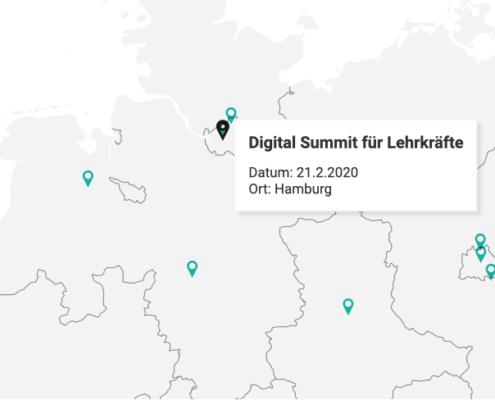 Eine Karte mit der Übersicht über Fortbildungen in Deutschland