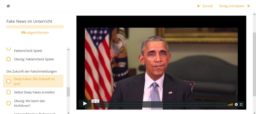 Online-Fortbildung Fake News im Unterricht_Screenshot Obama