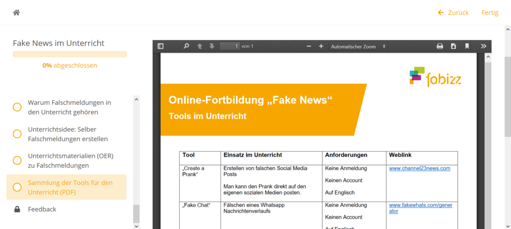 Online-Fortbildung Fake News im Unterricht_Screenshot Tools
