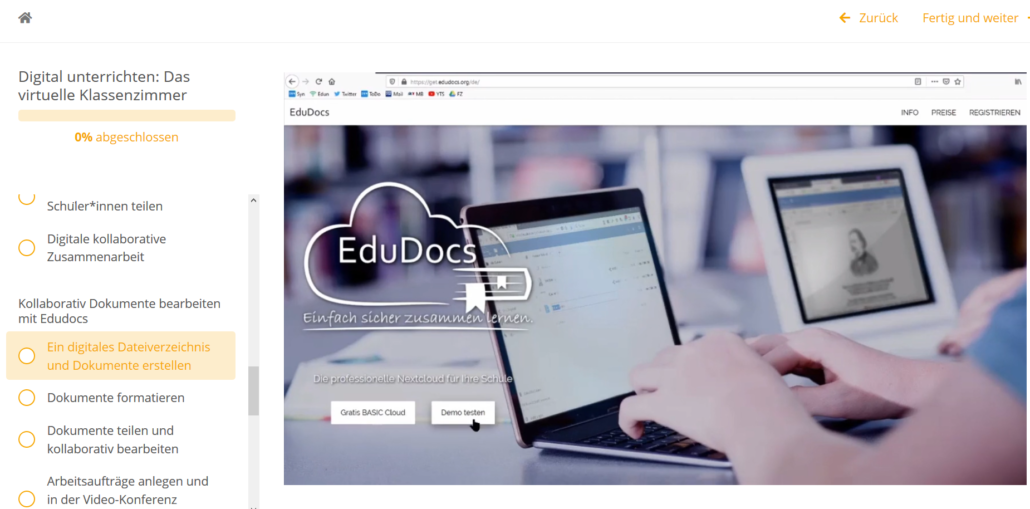 Mit Edudocs können mehrer Leute kollaborativ im selben Textdokument arbeiten.
