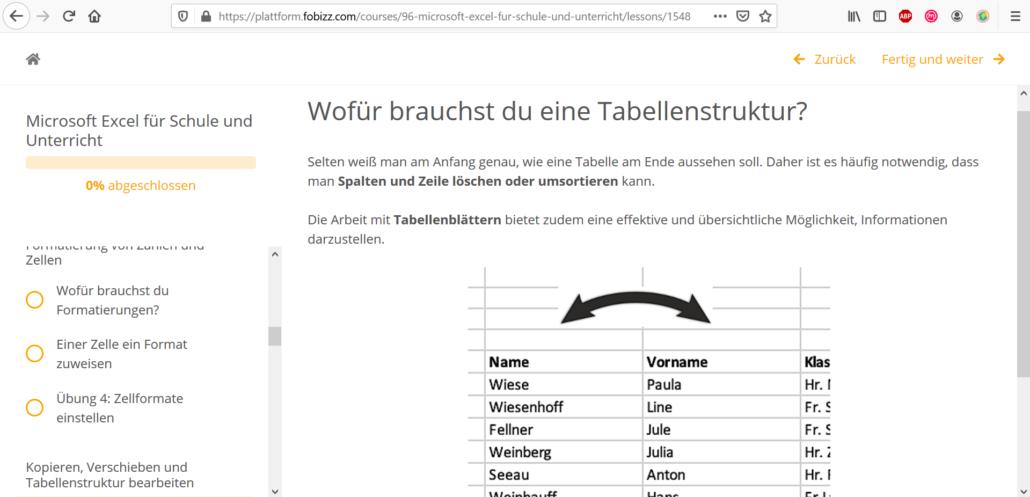 Online-Fortbildung Excel in der Schule