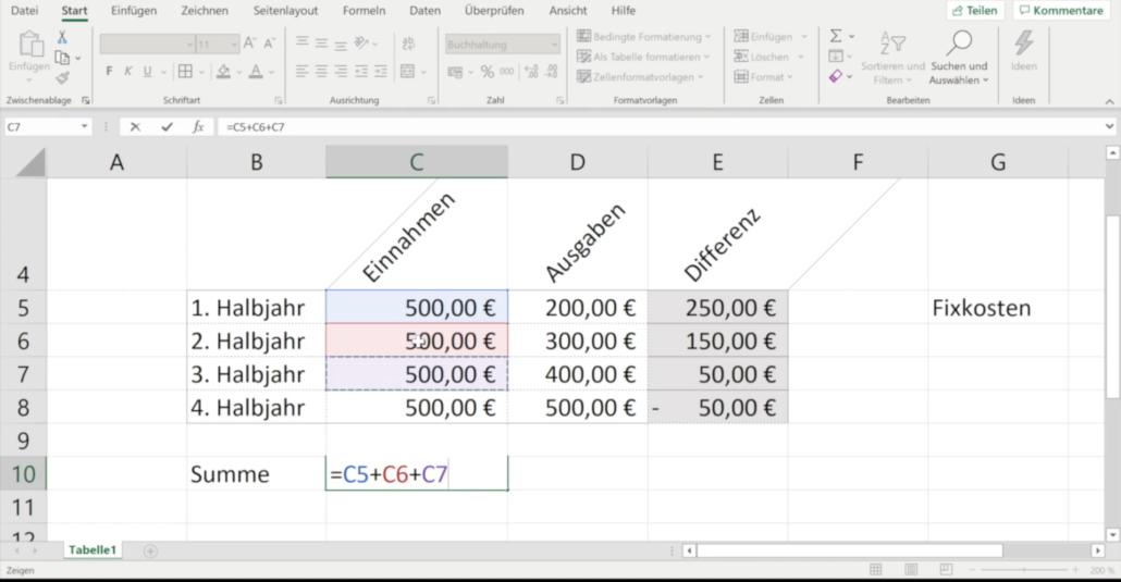 Online-Fortbildung Excel für die Schule