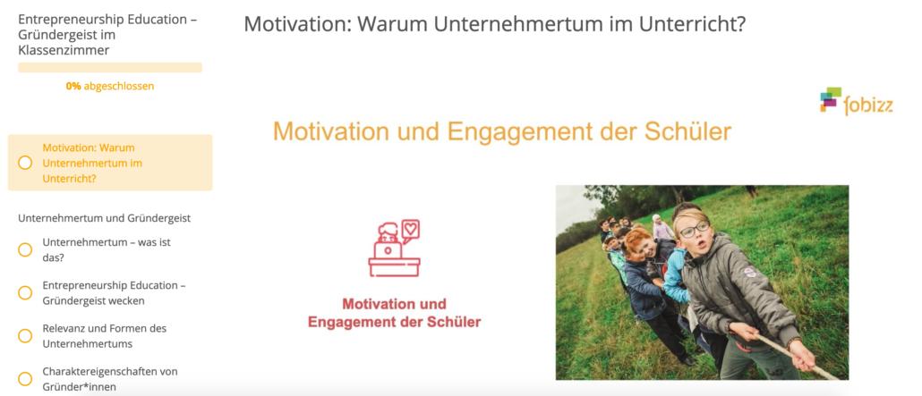Ausschnitt aus der Fortbildung: Entrepreneurship Education fördert die Motivation und das Engagement der Schüler*innen.