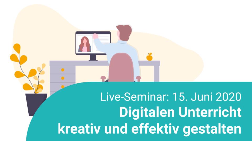 Zeichnung eines Mannes, der ein Online Seminar auf dem Bildschirm seines Computers anschaut. Live-Seminar am 15. Juni 2020