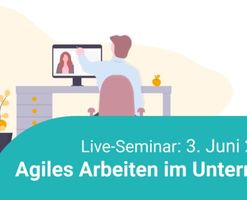 Live-Seminar am 03. Juni 2020 - Man sieht die Illustration einer Person am Schreibtisch, die sich gerade ein Webinar anschaut. Titel des Webinars: Agiles Arbeiten im Unterricht