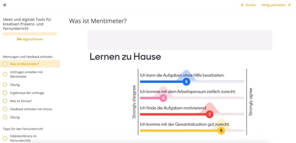 Screenshot einer Umfrage zum Lernen zu Hause