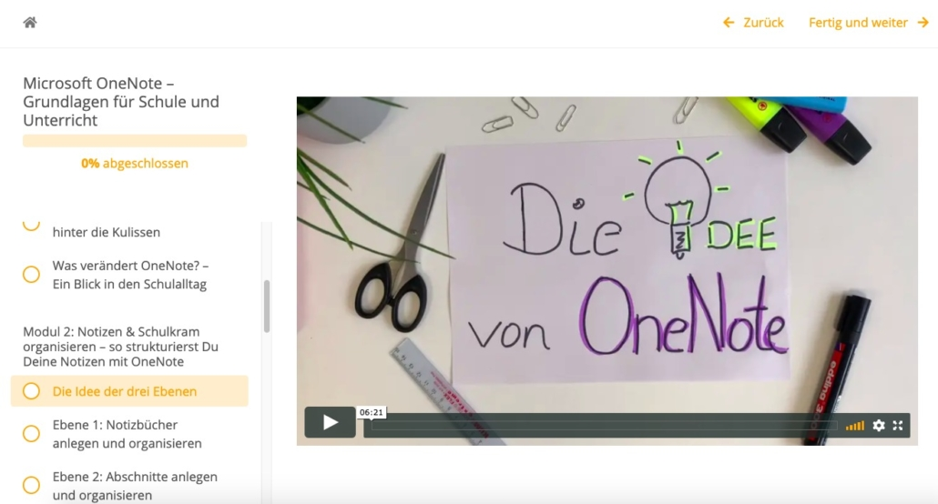 Papier auf Schreibtisch mit Stiften, Lineal und Schere. Auf dem Blatt steht: Die Idee von OneNote
