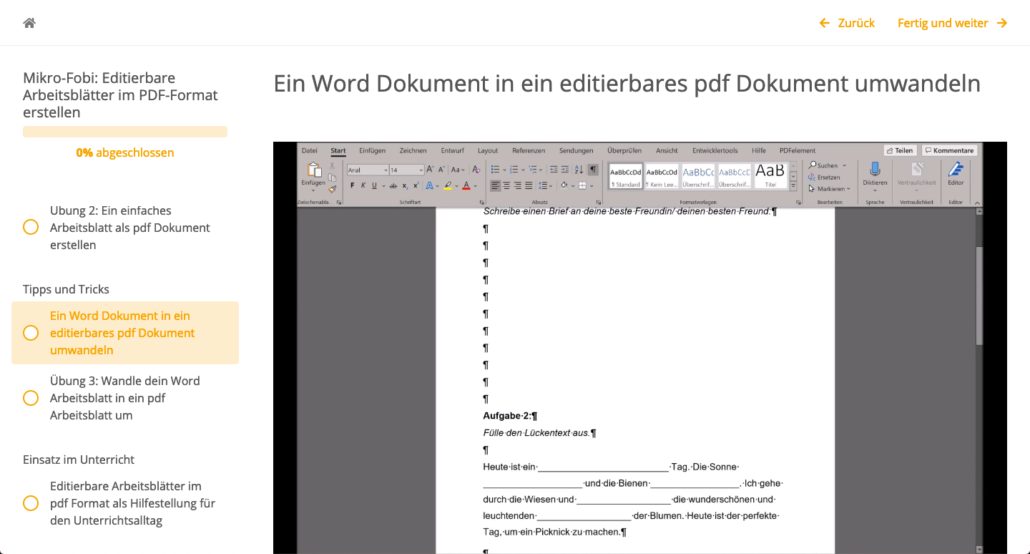Screenshot eines Word Dokuments