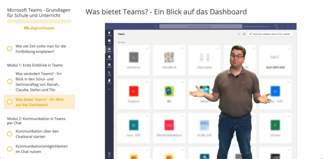 Screenshot, der Dozent steht vor einem Greenscreen, auf dem das Programm Teams zu sehen ist