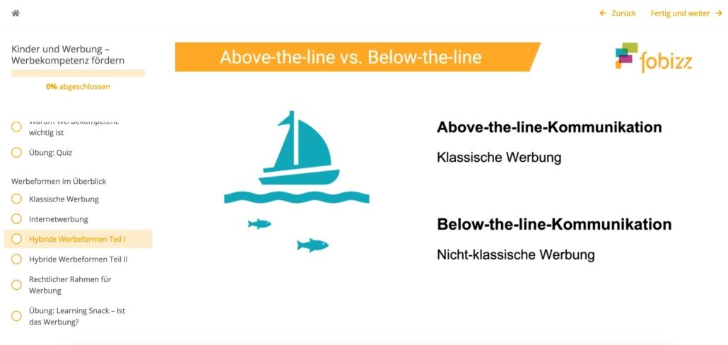 Screenshot: Above-the-line- und Below-the-line-Kommunikation wird erklärt, Schiff auf Wasser und Fische