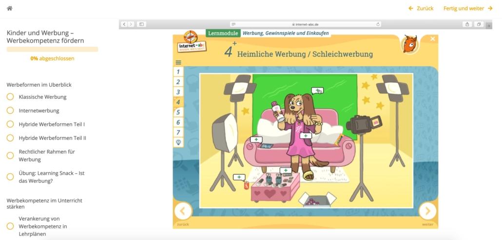 Screenshot Internet-ABC zu heimlicher Werbung