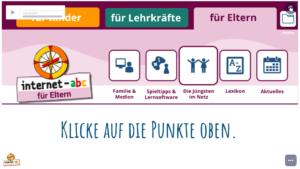Screenshot Ansicht der Website für Eltern