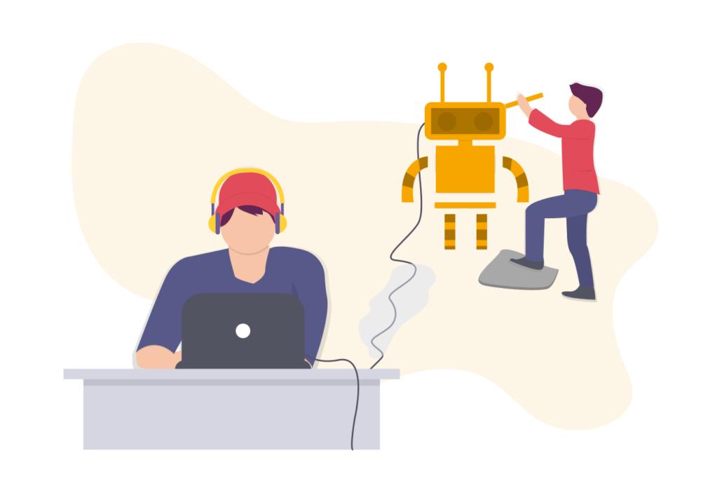 Grafik: Person sitzt am Computer und programmiert einen Roboter, der neben einem anderen Menschen steht