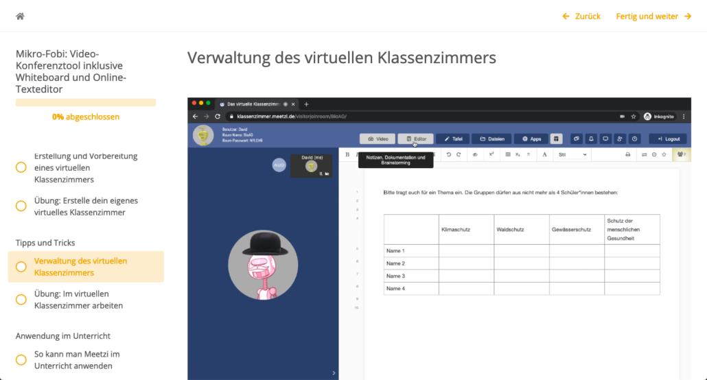 Screenshot aus dem vorgestellten Tool
