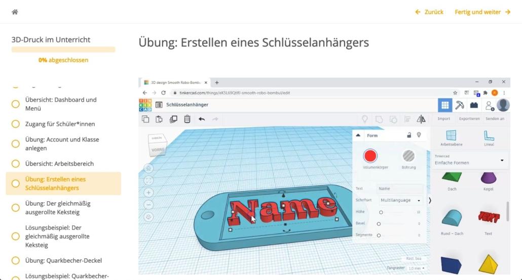 Screenshot aus der Fobi, Grafische Darstellung zur Erstellung eines Schlüsselanhängers