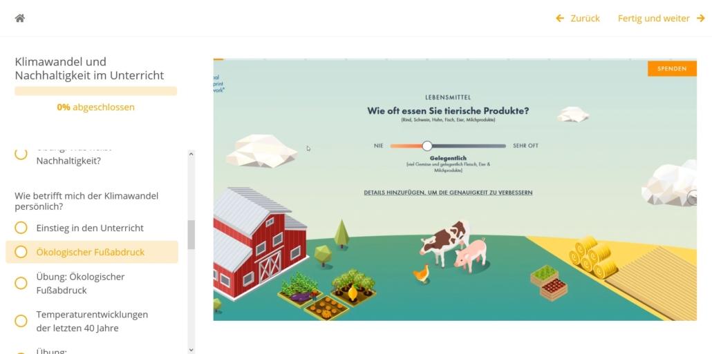 Screenshot: zu sehen ist eine Grafik eines Bauernhofs mit der Umfrage: Wie oft essen Sie tierische Produkte?