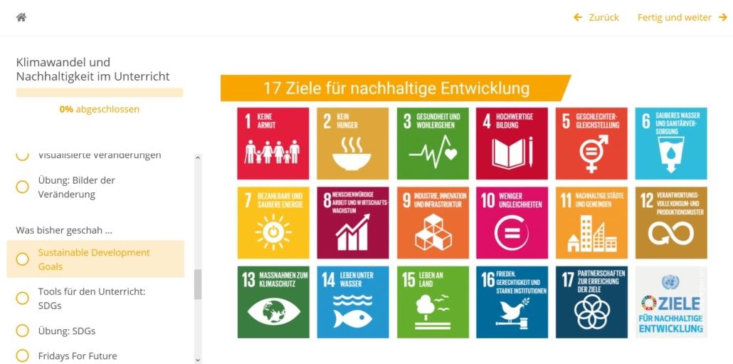 Screenshot: die 17 Ziele für nachhaltige Entwicklung
