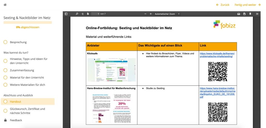 Screenshot aus der Online Fortbildung, zu sehen ist das Handout