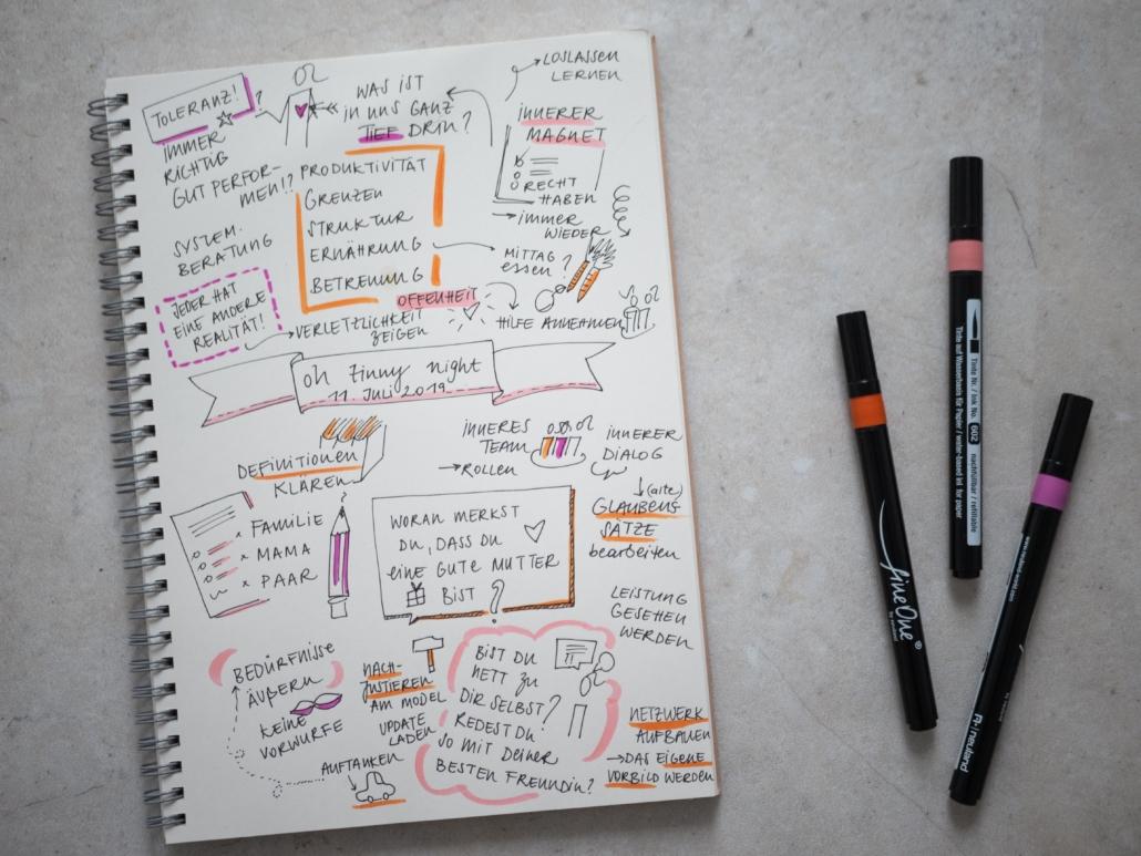 Schreibblock mit Notizen und farbige Stifte auf Tisch