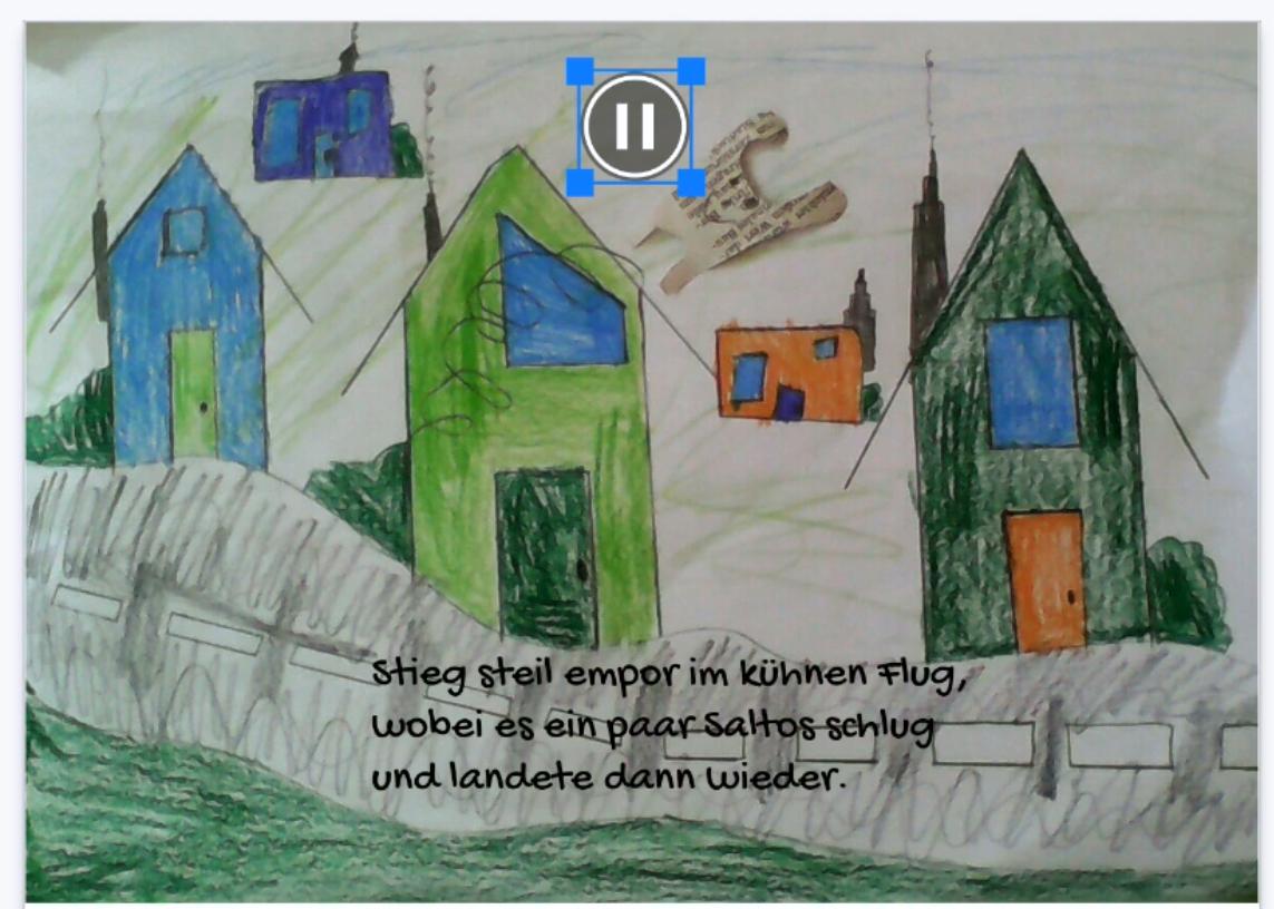 Screenshot aus Bookcreator, gemalte Häuser und ein Gedicht