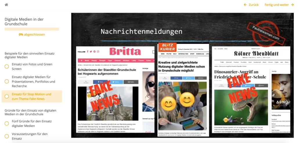 """Screenhot aus der Fortbildung: zu sehen sind von der Dozentin erstellte Fake News z.B. """"Schülerinnen der Staedtler-Grundschule bei Hogwarts aufgenommen"""""""