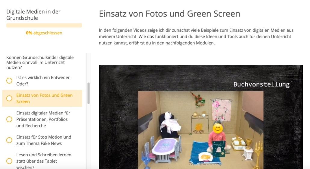 Screenshot aus der Fortbildung: Schulkinder stellen ein Buch mit Hilfe von Greenscreen-Technik vor