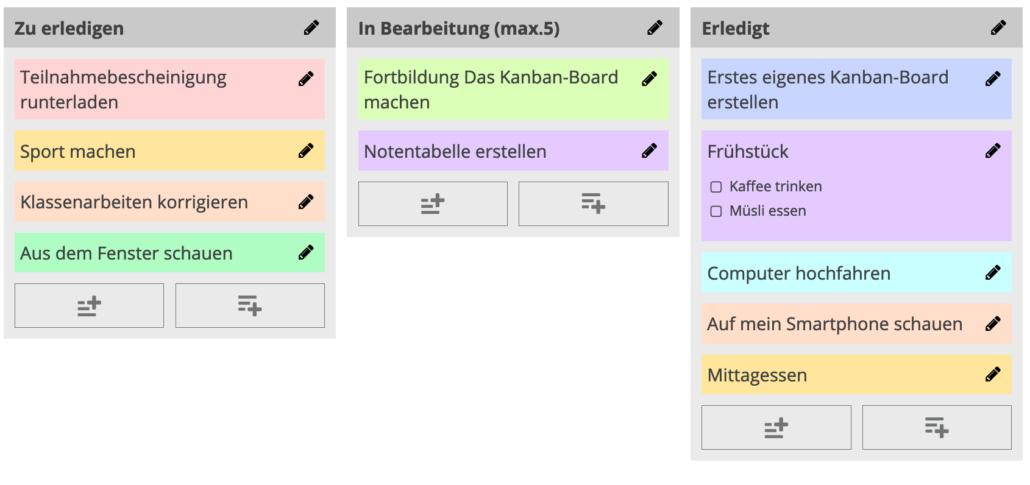 Übung mit einem digitalen Kanban-Board