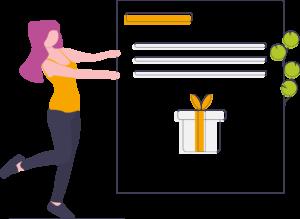 Illustration: Frau hält Karte hoch, auf der ein Geschenk abgebildet ist