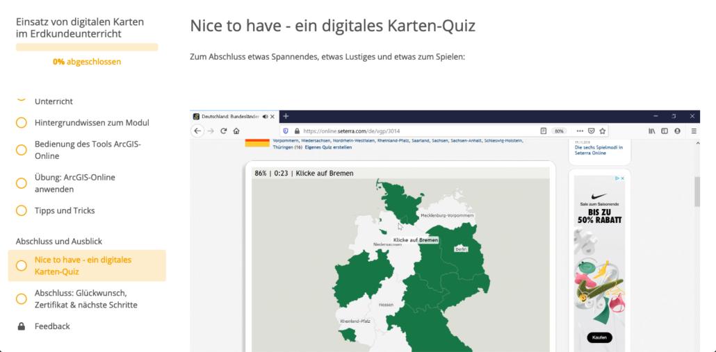 Ausschnitt aus der Online Fortbildung digitale Karten Erdkunde
