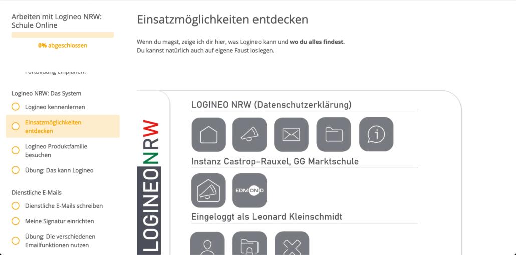 Ausschnitt aus der Fortbildung Logineo NRW Schule Online