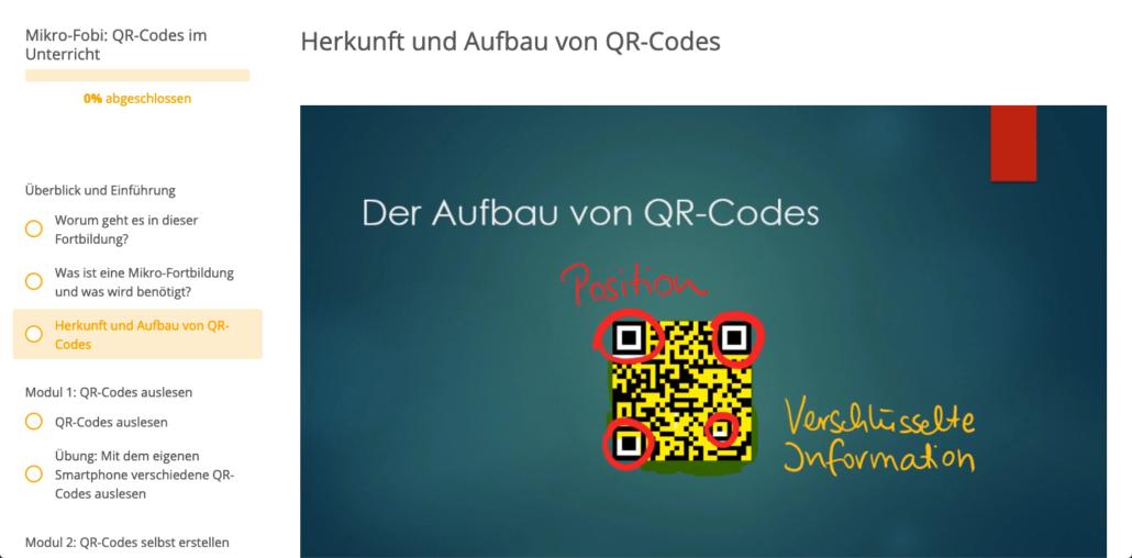 Ausschnitt aus der Mikro-Fobi QR-Codes im Unterricht
