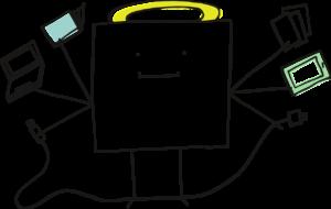 Grafik: Eine Figur mit sechs Armen hält Tablet, Laptop, Bücher, Ladekabel und Arbeitsblätter in den Händen.