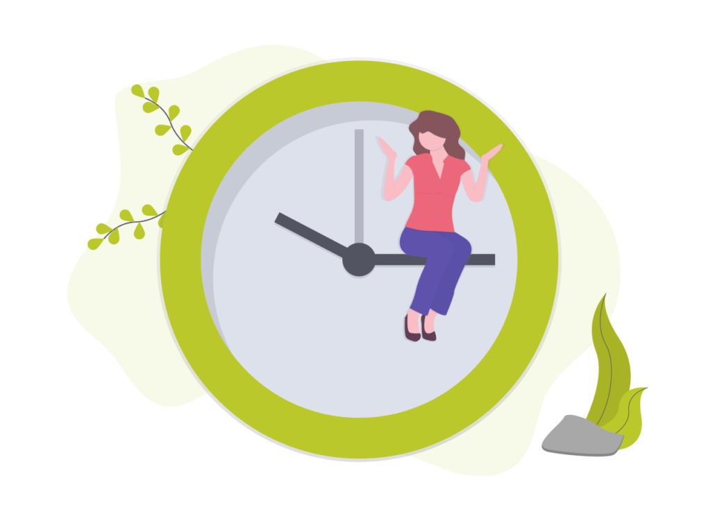 Grafik: Ein Mensch sitzt auf dem Zeiger einer Uhr.