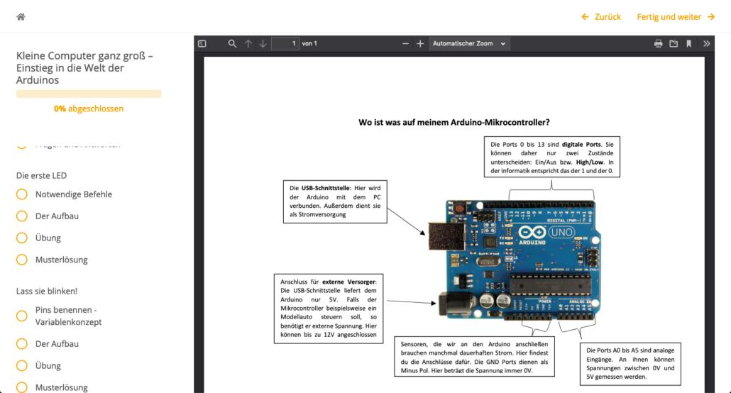 Ausschnitt aus der Fobi Arduino Uno im Unterricht