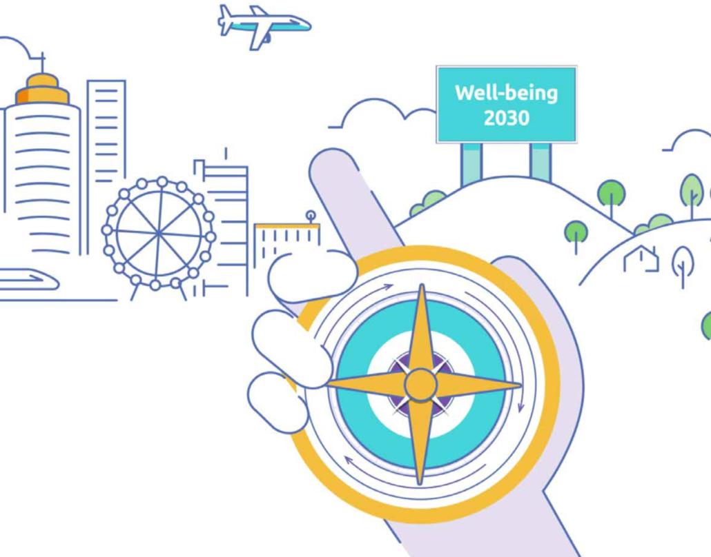 Grafik: Eine Person hält einen Kompass in der Hand. Im Hintergrund ist eine Stadt und ein Schild mit der Aufschrift
