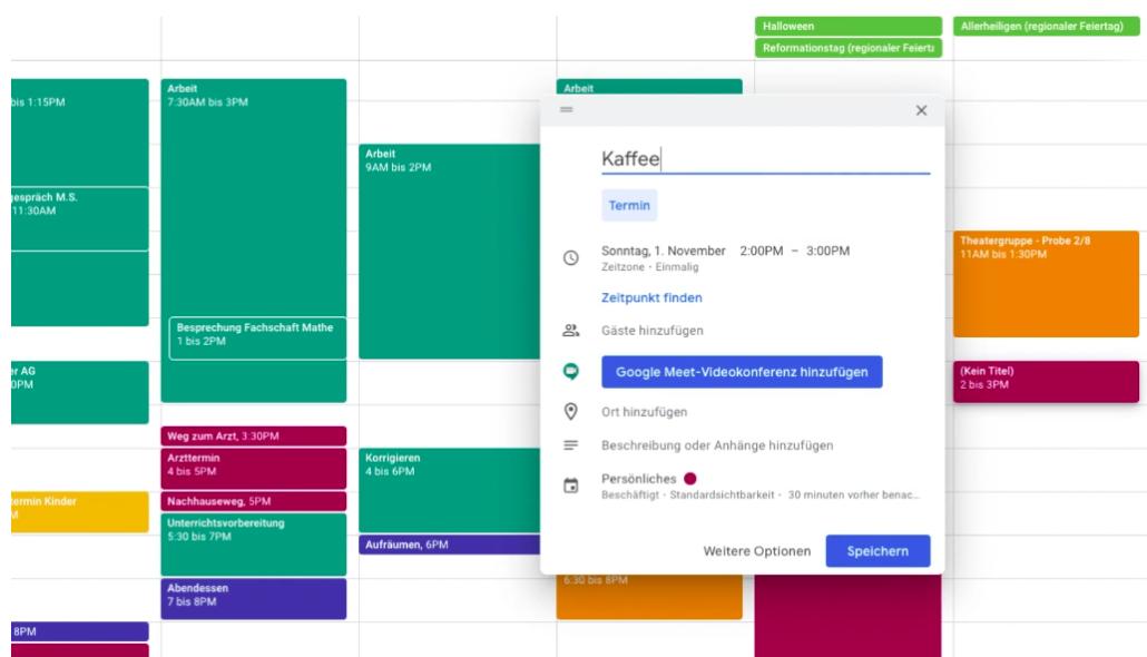 Ansicht Google Kalender mit vielen bunten Terminen