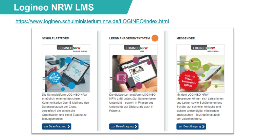 Screenshot aus moodle / Logineo NRW LMS
