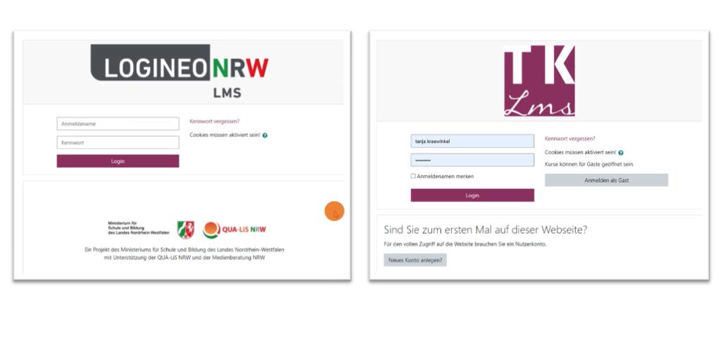 Screenshot aus moodle vs Logineo NRW LMS