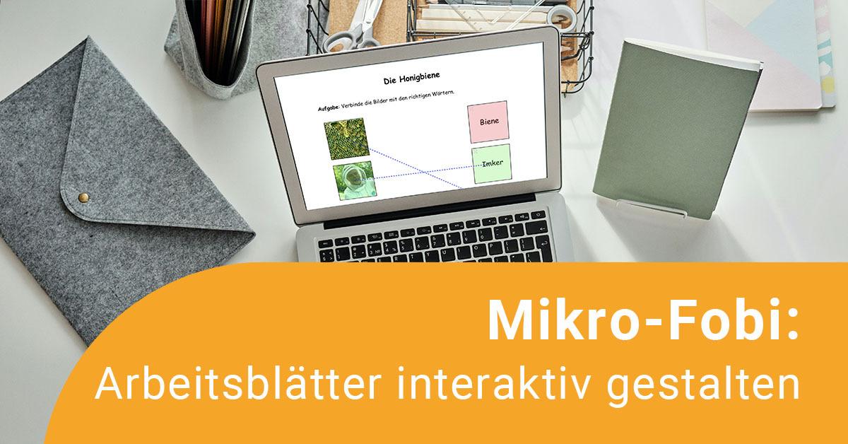 Aufgeklappter Laptop zeigt ein interaktives Arbeitsblatt auf dem Bilder Begriffen zugeordnet werden können