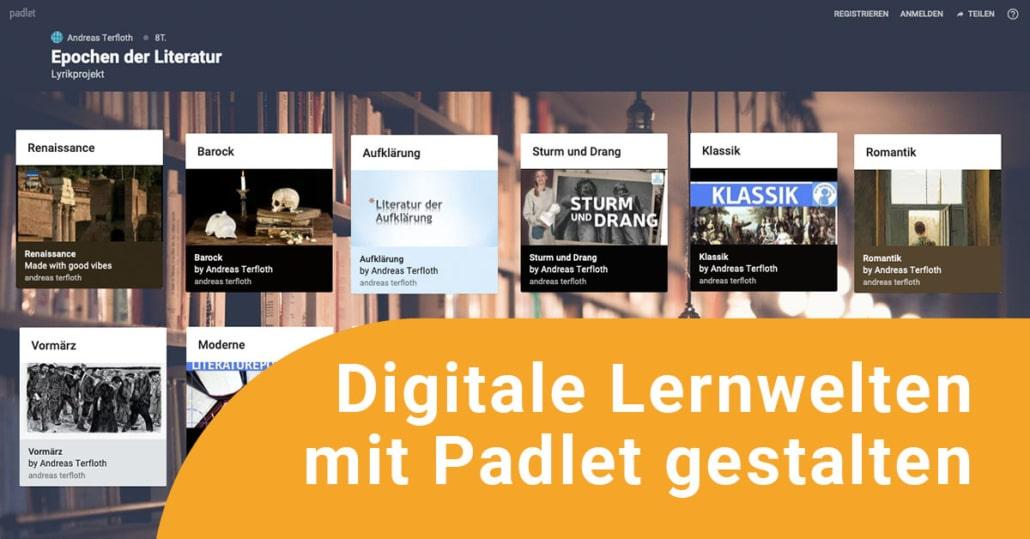 Screenshot einer digitalen Lernwelt mit Padlet