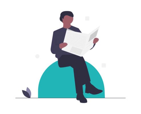 Grafik: Eine Person sitzt auf einem Ball und liest Zeitung.