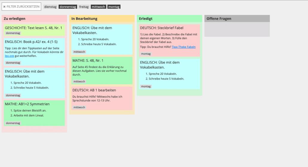 Individualisierter Stundenplan mit Cryptpad erstellt