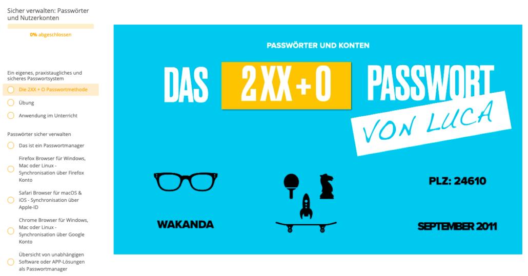 Das 2X Plus O Passwort, darunter kleine Symbole, eine Brille, Tischtennisschläger, ein Skateboard und eine Schachfigur