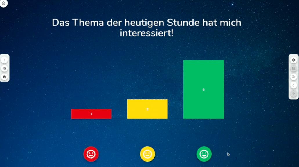 Screenshot aus dem Tool Classroomscreen, zu sehen ist eine Umfrage